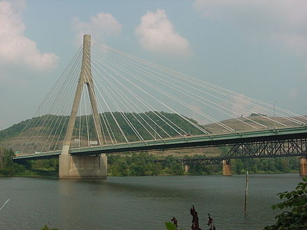 The Veterans Memorial Bridge carries US 22 between Weirton and Steubenville, Ohio. It is similar in design to the new bridge connecting Proctorville, Ohio (Ohio Rt 7) with Huntington, West Virginia via US 60. Weirton-Steubenville Bridge pic 1.jpg