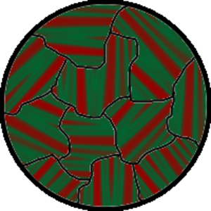 Ferromagnetism - Kerr micrograph of metal surface showing magnetic domains, with red and green stripes denoting opposite magnetization directions.