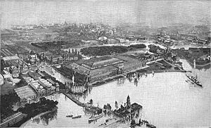 World's Columbian Exposition - Aerial view of the exposition at Jackson Park in a print by F.A. Brockhaus