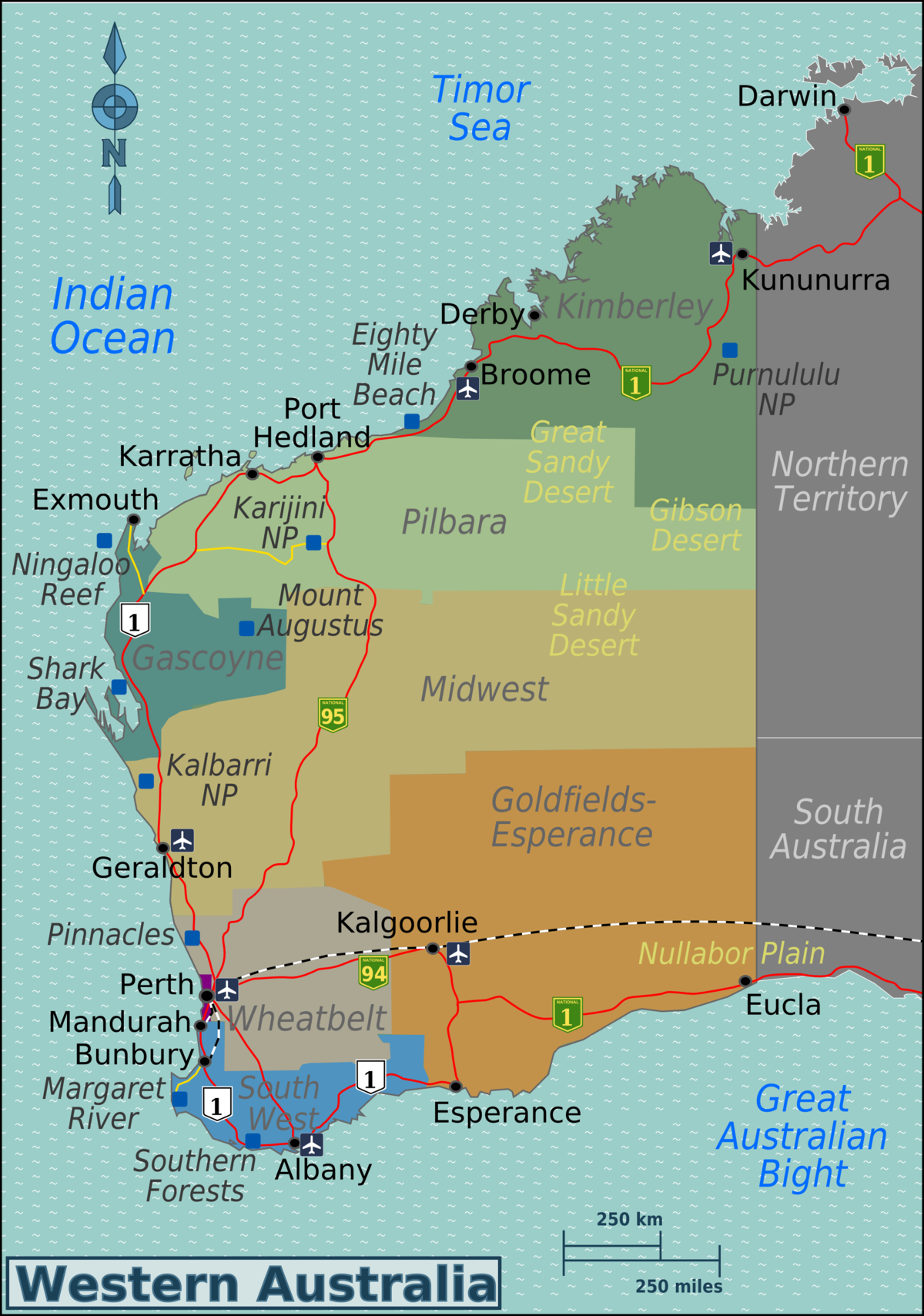 Western Australia Travel Guide At Wikivoyage - Map of western australia with towns