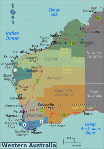Western australia travel guide at wikivoyage western australia regions map gumiabroncs