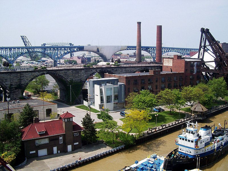 File:West bank of the flats in Cleveland, Ohio, (view from lower deck of Detroit-Superior Bridge).jpg