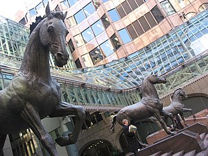 Mincing Lane - Group of three horses at Minster Court, City of London