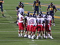 Wildcats in huddle at Arizona at Cal 2009-11-14 2.JPG