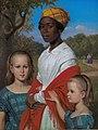 Wilhelm Marstrand, Portræt af Otto Marstrands to døtre og deres vestindiske barnepige, Justina, i Frederiksberg Have, 1857, KMS8833, Statens Museum for Kunst.jpg