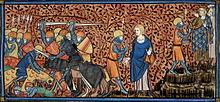 Illustration en couleur du XIVesiècle