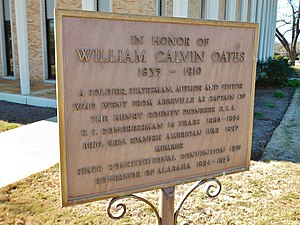 William C. Oates - A historic marker honoring Oates stands next to the Henry County Courthouse in Abbeville.
