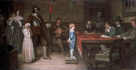 """And when did you last see your father?"" by William Frederick Yeames.The oil-on-canvas picture, painted in 1878, depicts a scene in an imaginary Royalist household during the English Civil War. The Parliamentarians have taken over the house and question the son about his Royalist father (the man lounging on a chair in the centre of the scene is identifiable as a Roundhead officer by his military attire and his orange sash ). William Frederick Yeames - And when did you last see your father%3F - Google Art Project.jpg"