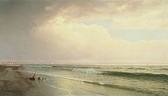 Atlantic City, New Jersey -  Seascape with Distant Lighthouse, Atlantic City, New Jersey, 1873, William Trost Richards. Thyssen-Bornemisza Museum