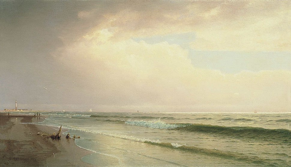 William Trost Richards - Seascape with Distant Lighthouse, Atlantic City, New Jersey (1873)