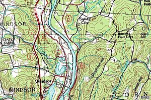 Ascutney Mill Dam -  Topographic Map of Windsor, Vermont