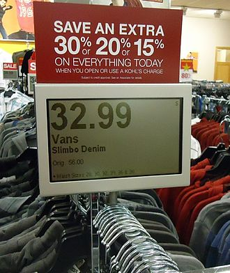 Price - A price display for a tagged clothes item at Kohl's