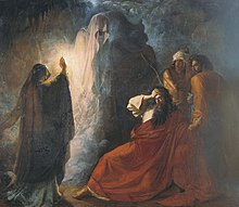 Dramatic painting of a hooded figure raising a ghost as the bearded King clutches his brow