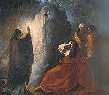 Drameca pentraĵo de kufovestita figuro kreskiganta fantomon kiel la barbaj reĝocluĉes lian frunton