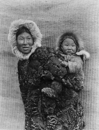 Alaska Natives - Yupik mother and child on Nunivak Island