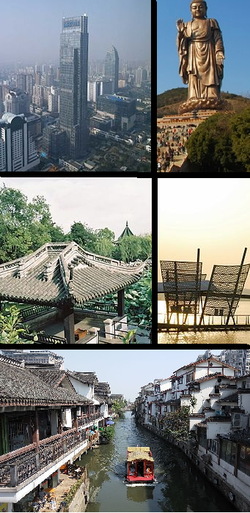 Clockwise from top: Yunfu Mansion, Grand Buddha at Ling Shan, Lihu Lake, city canal, Liyuan Gardens