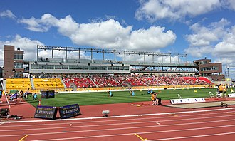 Venues of the 2015 Pan American and Parapan American Games - CIBC Pan Am / Parapan Am Athletics Stadium during the first day of athletics competition