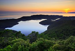 Sunset on the island called Mljet.