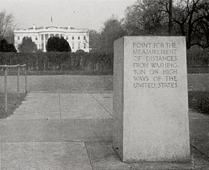 Washington meridians - Zero Milestone, 1923, looking north toward the White House.