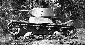 17th Tank Division (Soviet Union) - A destroyed T-26 of the type used by the division
