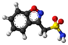 Ball-and-stick model of the zonisamide molecule