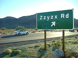 Freeway exit sign to Zzyzx Road off Interstate 15