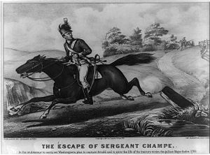 "John Champe (soldier) - ""The Escape of Sergeant Champe"": Lithograph: New York: Currier & Ives, c. 1876."