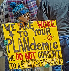 "A young adolescent carrying a yellow sign saying, ""We are woke to your plandemic. We do not consent to a Gates Vaccine."""