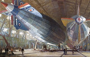 RAF East Fortune - Airships 'R34' and 'R29' in a shed at East Fortune (IWMART4086)