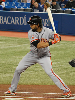 Ángel Pagán - Pagán batting for the San Francisco Giants in 2013