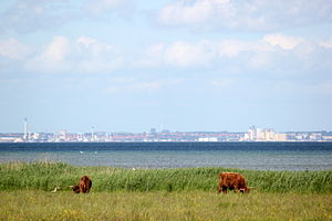View over the Oresund from Denmark to Sweden