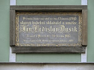 Jan Ladislav Dussek - Memorial plaque in Čáslav, his birthplace