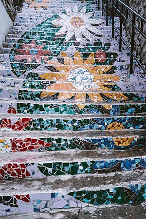 "Ihwa Mural Village - 2013 ""Flower staircase"" mural, removed by residents in April 2016."