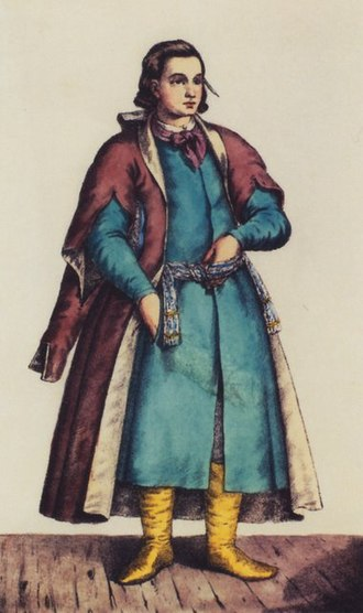Żupan - A Ukrainian cossack clerk wearing a blue żupan under a kontusz (1786)