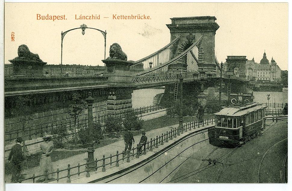 09870-Budapest-1908-Kettenbrücke mit Straßenbahn-Brück & Sohn Kunstverlag