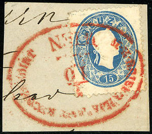 Valuation of cancellations of the Austrian Empire - Type RzO-fy rouge (5x10 P)