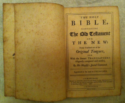 Title page of the 1760 Cambridge edition 1760 Cambridge Edition King James Bible.png