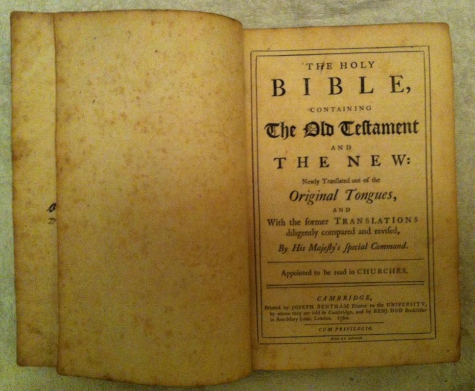 1760 Cambridge Edition King James Bible