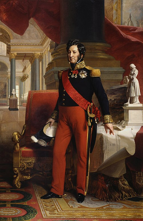 Louis-Philippe I, King of the French. The King is depicted at the entrance of the Gallerie des batailles which he had furnished in the Chateau de Versailles . 1841 portrait painting of Louis Philippe I (King of the French) by Winterhalter.jpg