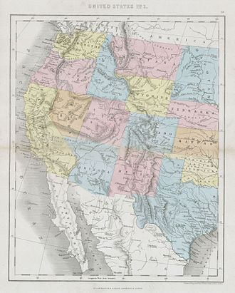 Timeline of the American Old West - 1864 Dower hand-colored map depicting the western half of the United States, including most of the lands west of the Mississippi River