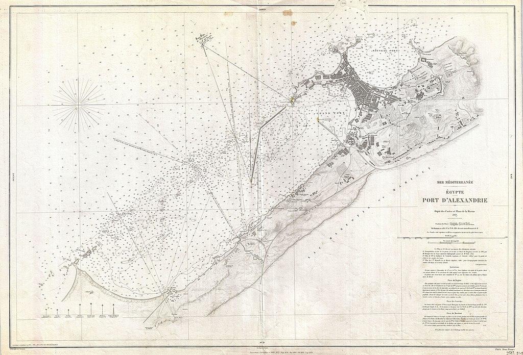 Sea Chart: 1867 Depot de la Marine Nautical Chart or Map of Alexandria ,Chart