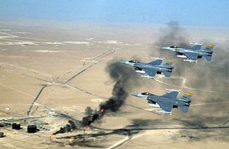 New Mexico Air National Guard - 188th Fighter Squadron flying over Kuwaiti oil wells during the Operation Southern Watch, 1998