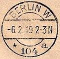 1919-02-06 Einschreiben Flugpost National-Versammlung Weimar erster Flug nach Berlin Ankunftsstempel Berlin W 104 a.jpg