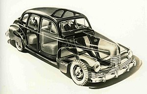 Illustration - Cutaway drawing of the Nash 600, an American automobile of the 1940s (1942)