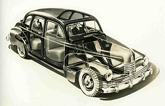 Nash 600 - News release drawing of the 1942 Nash 600 showing its unibody construction