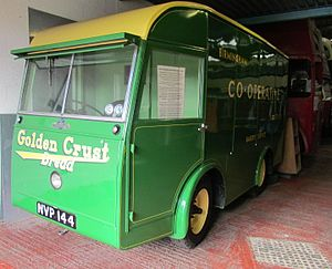 Morrison-Electricar - A Morrison-Electricar bread van KVP144, built in 1953, and now on display at The Transport Museum, Wythall