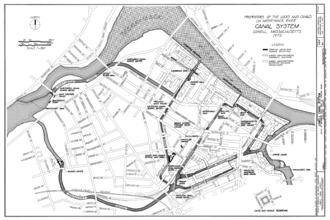 Power canal - Map showing the system of canals used to power the textile mills of Lowell, Massachusetts. At left, water is diverted from the Merrimack river, and distributed out to several smaller canals (center and right)