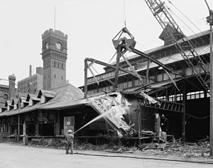 "Dearborn Station - The station's train shed being demolished in May 1976; the ""head house"" can be seen at the rear"