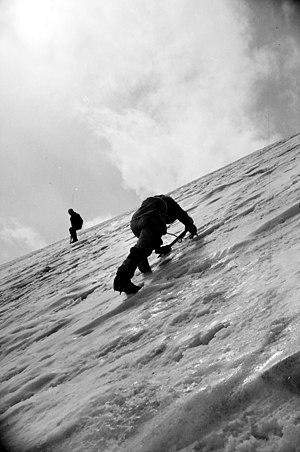 Ice climbing - Ice climbing during ascent to Tartu Ülikool 350 in 1982.