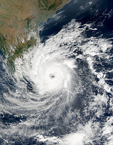 Cyclone 04B viewed from Space on December 26, 2000. The storm's eye, visible near the center of the image, is making landfall on Sri Lanka.